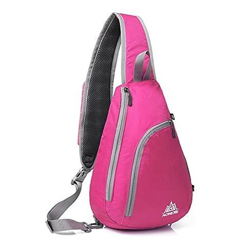 Épaule Sac à dos, GSTEK étanche Sling Chest Crossbody Sac à dos pour les sports de plein air, école, Voyage - Rose