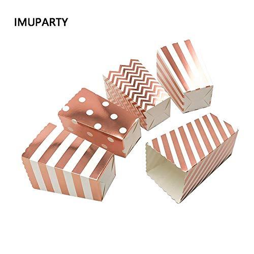 Tyro 12pcs Metallic Rose Gold Popcorn Box gestreift Punkte Hochzeit Dekorationen Geburtstag Party Süßigkeiten Box Dessert Container für Leckereien -