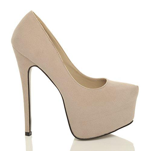 Damen Sehr Hoher Absatz Verdeckter Plateausohle Party Pumps Schuhe Größe Beige Wildleder