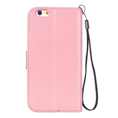 iPhone Case Cover Pour iPhone 6 & 6s Coeur Diamond Encrusted Fleurs Embossing Horizontale Flip Etui en cuir avec Holder & Card Slots & Wallet & Lanyard ( Color : Brown ) Pink