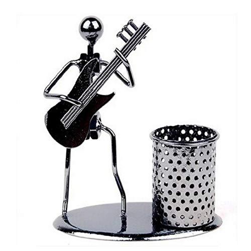 QIFUDEVS-PEN HOLDER Home Schultage Iron Men Art Musikinstrument Metall Bleistift Cup Pen Container Halter Bleistift Pot Organizer (E-Gitarre) -
