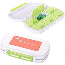 4ucycling Leicht zu tragen Vitamin Tablettenbox (12*8*3)cm Tablettendose feste Klappe 6-Fach und Dichtung Packet von 2