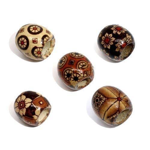 Perlen 17x16mm groß braun Erdtöne gemustert Fädelloch 7,4mm (40 Stück) für Schmuckherstellung oder auch Dreadlock-Träger ()
