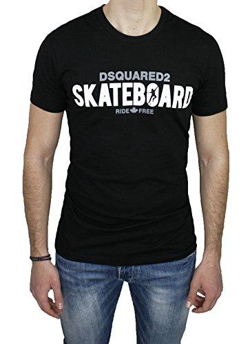 T-Shirt maglia uomo Dsquared 2 nero girocollo maniche corte 100% cotone (XXL)