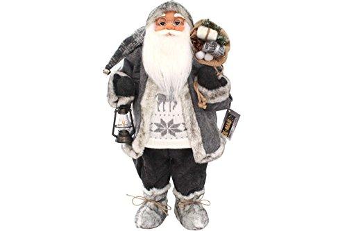 LD Weihnachten Deko Weihnachtsmann 60 cm nordisch grau mit Laterne Santa Claus Nikolaus DEKO Figur