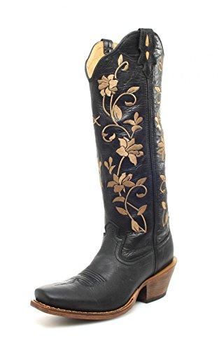 Twisted X Boots 1758 STEPPIN OUT Black Lederstiefel für Damen Schwarz Westernstiefel, Groesse:37.5 (6.5 US) - Black Square Toe Cowboy-stiefel