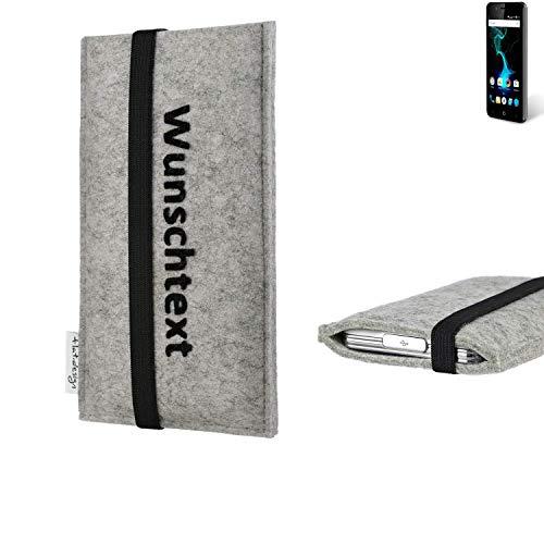 flat.design Handy Hülle Coimbra für Allview P6 Pro maßgeschneiderte Handytasche Filz Tasche Case schwarz grau