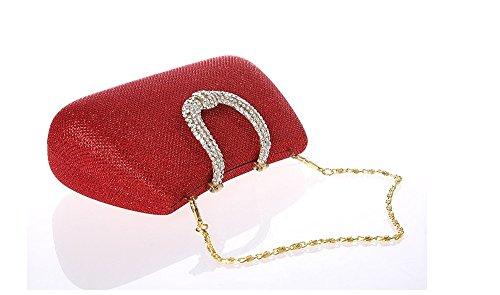 Lantra Besa Damen Strass Tasche Abendtasche Clutch Umhängetasche Schultertasche mit 2 Ketten für Hochzeit und Party Klein CW0003 - Rosa Rot