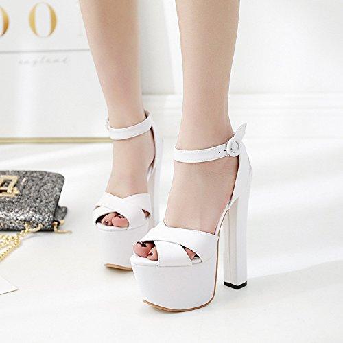 XiaoGao neri, scarpe col tacco alto 18cm/20 cm di tacco alto con una parola le scarpe da donna,white