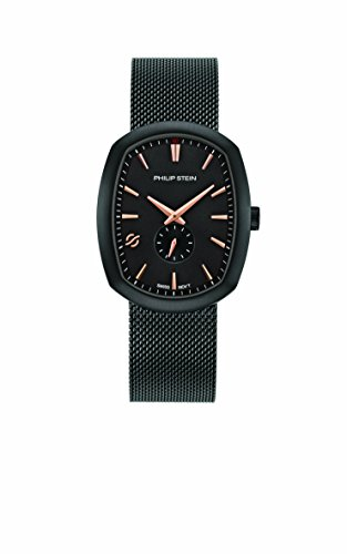 Philip Stein Mens Analog Swiss-Quartz Watch with Stainless-Steel Strap 72B-CRGBK-MSSBP