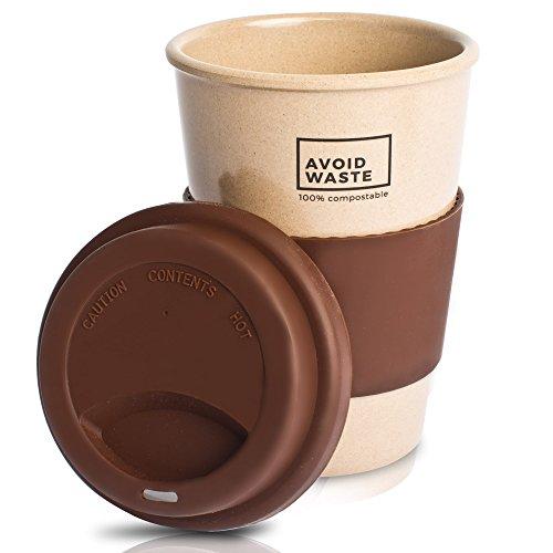 avoid waste - Nachhaltiger Kaffee-Becher to go aus Reishülsen. Der Mehrweg-Becher ist pflanzlich, biologisch abbaubar, BPA frei, spülmaschinenfest und umweltfreundlich (braun)