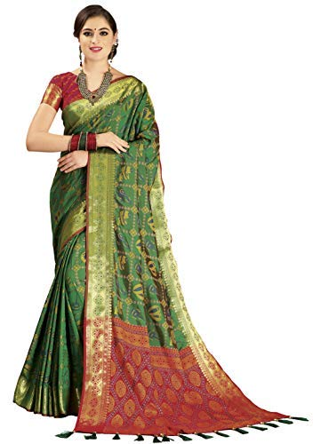 EthnicJunction Double Ikat Vibrant Dholak and Sitar Woven Patola Silk Saree with Unstitched Heavy Design Woven Silk Blouse Piece (EJ1175-1010, Darkish Green)