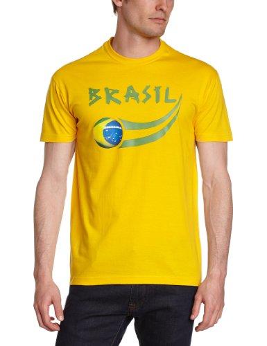 Supportershop Herren Brasil Fan T-Shirt, gelb, L -