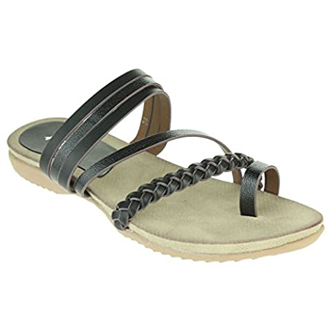 Women Ladies Toe Ring Strappy Slip On Stunning Beach Open Toe Summer Casual Comfort Flat Slider Black Sandals Shoes Size