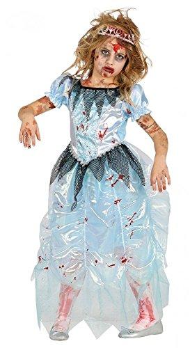 Zombie Prinzessin mit blutigem Kleid Mädchen-Kostüm Kinder Kleinkind Halloween, Kindergröße:134 - 7 bis 9 (Kostüme Elsa Für Kleinkinder)