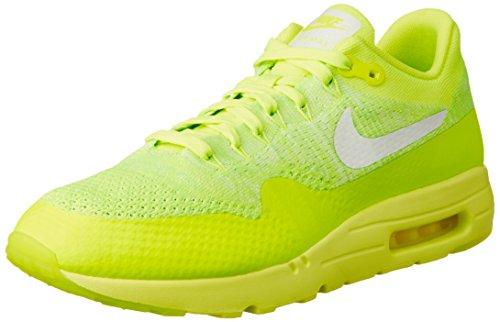 Nike Air Max 1 Ultra Flyknit, Chaussures de Running Entrainement Homme, Orange, 45 EU Amarillo (Volt / White-Electric Green)