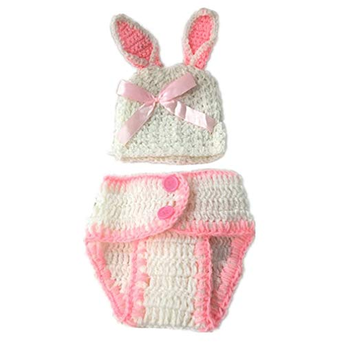 Rabbit Kostüm Outfit - Neugeborenes Baby/Junge häkeln Kostüm Foto Fotografie Prop Hüte Outfits Pink Rabbit