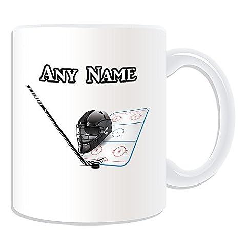 Personalised Gift - Ice Hockey Mug (Sport Design Theme, White) - Any Name / Message on Your Unique Mug - NHL by UniGift