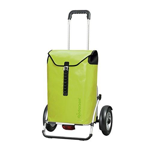 Andersen Chariot de Courses Royal Plus avec Sacoche Ortlieb Vert Citron, Volume 49L, Cadre Aluminium et Roues pneumatiques