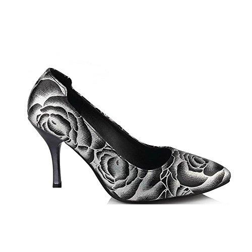 VogueZone009 Donna Colore Assortito Tessuto Lucido Tacco A Spillo Scarpe A Punta Punta Chiusa Ballerine Nero