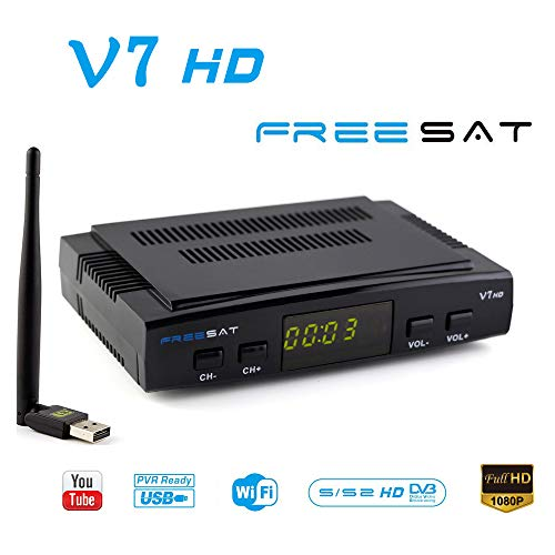 FREESAT V7 HD DVB-S2 Receptor de TV por satélite Digital Decodificador con USB WiFi Antena Receptor de Sat FTA 1080P Full HD Soporte USB PVR, CCcam, Newcam, Youtube, PowerVu, Dre & Biss clave