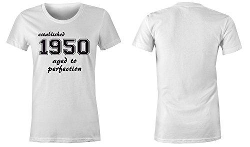 Established 1950 aged to perfection ★ Rundhals-T-Shirt Frauen-Damen ★ hochwertig bedruckt mit lustigem Spruch ★ Die perfekte Geschenk-Idee (02) weiss