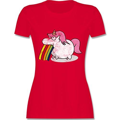 Comic Shirts - Kotzendes Einhorn Vintage - tailliertes Premium T-Shirt mit Rundhalsausschnitt für Damen Rot