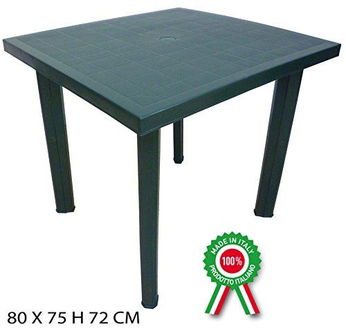 Tavolo tavolino quadrato in resina di plastica verde Fiocco per esterno