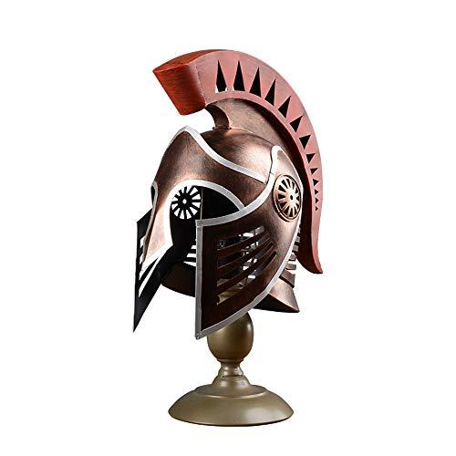 Douer Korinthische Helm schmiedeeiserne Tischlampe mittelalterliche Ritter Helm Tisch Lichter kreative Retro Nachttisch Lampe Büro Bar Dekoration Schreibtisch Licht E27 (ohne Glühbirne) -