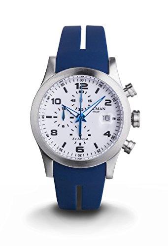 Locman Island / orologio uomo / quadrante bianco / cassa acciaio e titanio / cinturino silicone blu