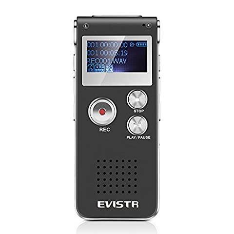 Evistr Portable Black 8GB Digital Audio Voice Recorder, MP3 Music