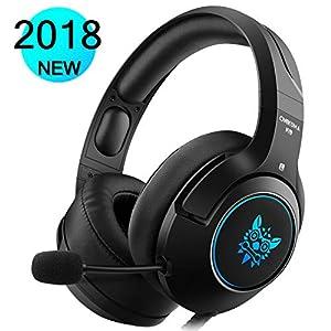 DIZA100 Gaming Headset für PS4 Xbox One PC, Gaming Kopfhörer mit Noise Cancelling Mikrofon Buntes LED-Licht Bass Surround für Nintendo Switch Laptop Smartphones