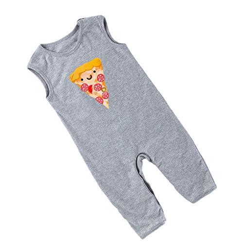 babysbreath17 Baby-Mädchen Pizza Drucken Playsuit gekräuselten ärmelKinderSpielAnzug Kinder Neugeborene Sommer-Kleidung grau 59