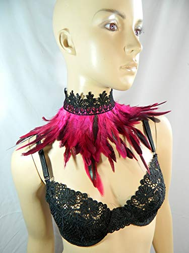 Feder Halsband Kragen pink Choker Kropfband Kette Vogel -
