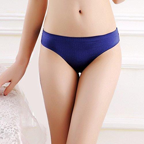 Bigood Slip Femme Culotte Sans Couture G-string T-Back Sous-vêtement Lingerie Erotique Bleu