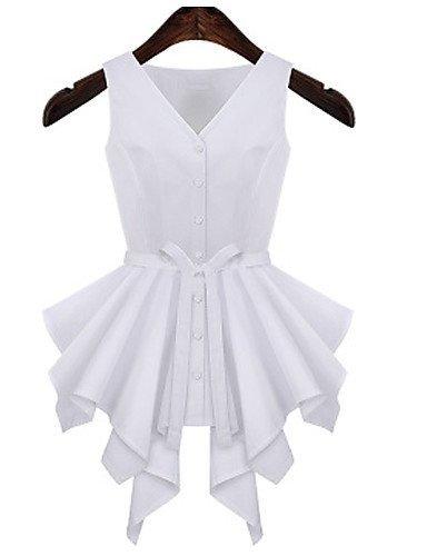 CBIN&HUA Da donna A pieghe A V Senza maniche Cotone/Lino , white-xl , white-xl