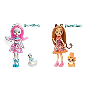 Enchantimals Muñeca con Mascota Saffi Swan (Mattel FRH38) + Muñeca con Mascota Cheris Cheetah (Mattel FJJ20)