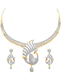 JFL - Fusion Ethnic One Gram Gold Plated American Cubic Zircon Diamond Peacock Designer Necklace Set With Earring...