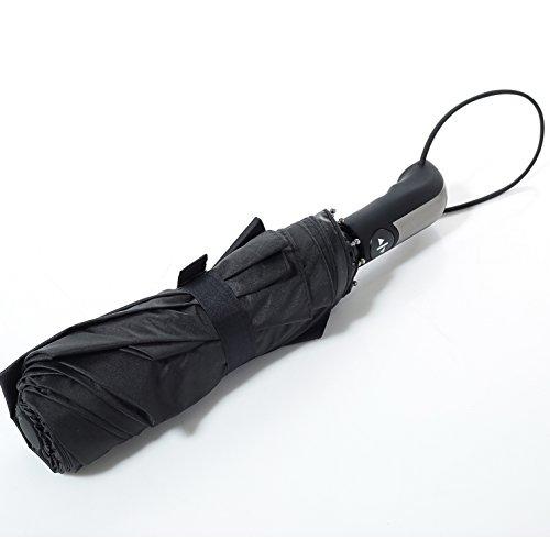 Lucear Ombrello da Viaggio 10 Stecche Super Grande Ombrello Donna Uomo Pieghevole Antivento Automatico Resistente Classico da Borsa Pioggia 105cm Diametro Nero