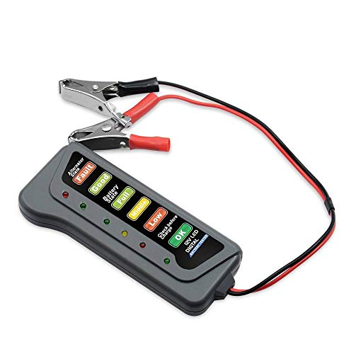 QHLJX KFZ-Batterietester, 12 V Digital Batterie Lichtmaschine Tester Auto Fahrzeug Diagnosewerkzeug mit 6 LED-leuchten Anzeige Batterie Tester für Auto Motorrad