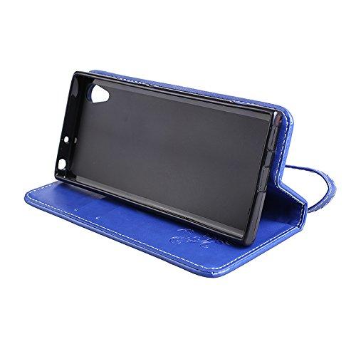 Hülle für Sony Xperia XA1, Tasche für Sony Xperia XA1, Case Cover für Sony Xperia XA1, ISAKEN Blume Schmetterling Muster Folio PU Leder Flip Cover Brieftasche Geldbörse Wallet Case Ledertasche Handyhü Rose Schmetterlinge Blau