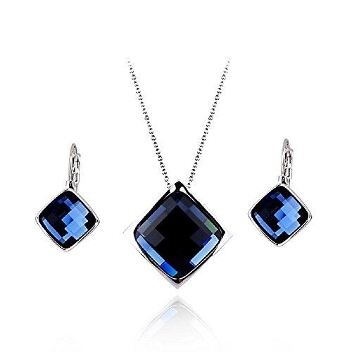 Crystals from Swarovski Zaffiro simulato blu Purare Collana con ciondolo 45 cm Orecchini pendenti Monachella 18 kt placcato oro