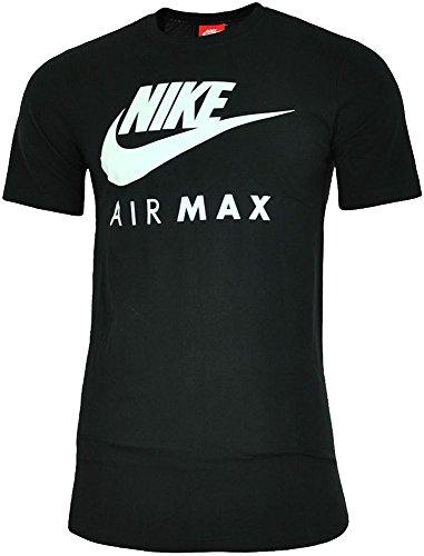Nike Air Max Tee Hommes Chemise T-Shirt Coton Fitness Sport Noir/Blanc, Dimension:L