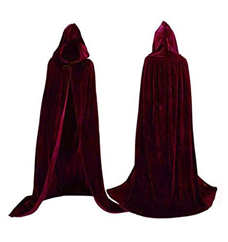 Flywife Damen Samt Kapuzenmantel Halloween Kostüme Kapuzenpartei Cape Mittelalterlich Cosplay Lang Cape (Wein rot)