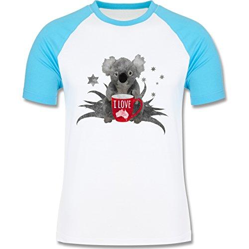 Kontinente - I love Australien Koala - zweifarbiges Baseballshirt für Männer Weiß/Türkis