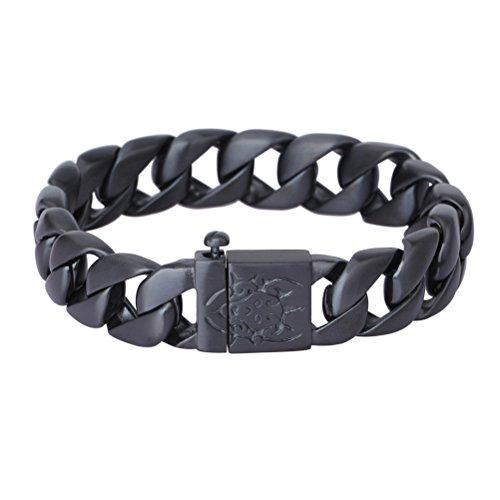 YSM-Kandare-Kettenarmband-220mm-Edelstahl-Armband-15mm-Breite-Masculine-Herren-Armband-Schwarz