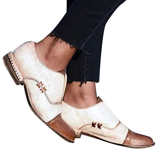 TianWlio Stiefel Damen Flache Schuhe mit Flachem Absatz und Flachem Mund White and Brown 37