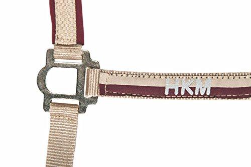 HKM 558630 Nylonhalfter mit Strick und Karabinerhaken, Vollblut, 180 cm, beige/dunkelrot