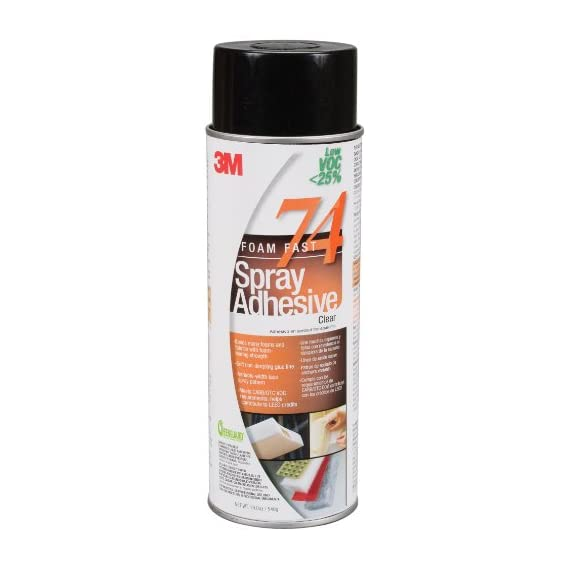 3M 74 LOW VOC AERO Foam Fast Spray Adhesive, 24 Fluid Ounce Can, Net Weight 19.0 Ounce