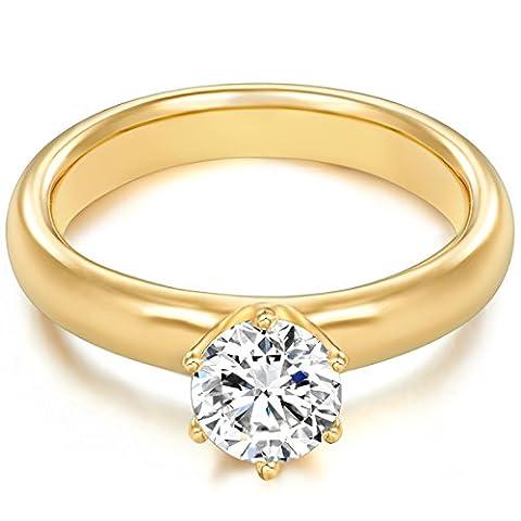 Tresor 1934 Bague femme / Bague de fiançailles / Solitaire Argent Sterling 925/1000 doré or jaune Oxyde de zirconium blanc T. 50 60451019